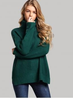Casual Split Plain Pullovers Regular Fit High Neck Long Sleeve Pullovers Green Regular Length Split Side High Neck Sweater
