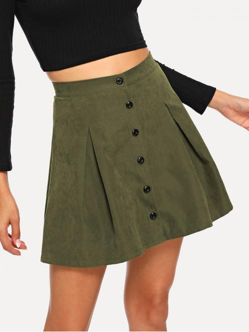 Preppy A Line Plain Mid Waist Army Green Above Knee/Short Length Button Up Boxed Pleated Skirt
