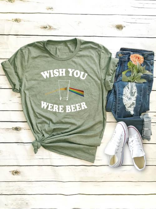 Casual Letter Regular Fit Round Neck Cap Sleeve Roll Up Sleeve Pullovers Green Regular Length Letter Print Rolled Cuff Tee