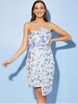 Glamorous and Sexy Bodycon Floral Asymmetrical Slim Fit Strapless Sleeveless High Waist Blue Short Length Zip Back Wrap Belted Jacquard Tube Dress with Belt