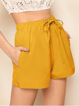 Casual Plain Wide Leg Loose Drawstring Waist and Elastic Waist Mid Waist Yellow Drawstring Waist Wide Leg Shorts
