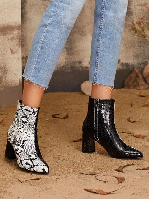 Glamorous Other Snakeskin Print Side zipper Multicolor High Heel Chunky Point Toe Snakeskin Print Side Zip Boots