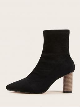 Sock Boots No zipper Black Mid Heel Chunky Point Toe Suede Chunky Heeled Boots