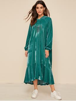 Green Floral Drawstring Hooded Detail Embroidered Ruffle Hem Dress Clearance