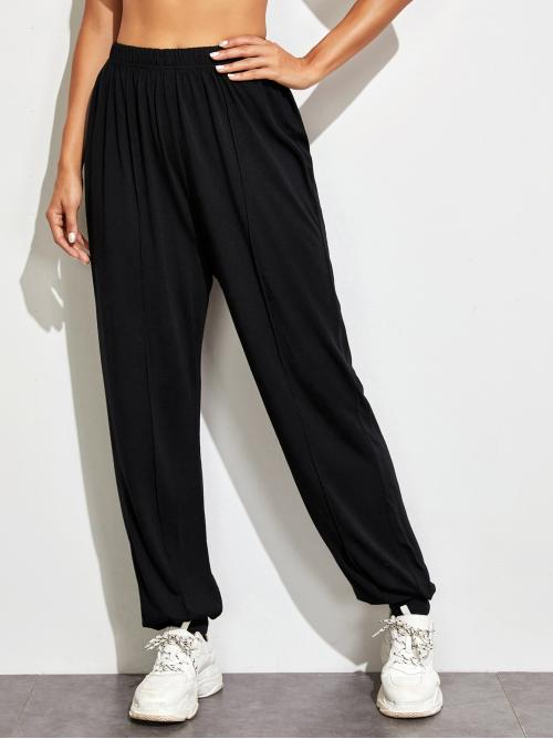 Sporty Sweatpants Plain Regular Elastic Waist Mid Waist Black Long Length Solid Elastic Waist Seam Detail Sweatpants