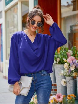 Womens Long Sleeve Top Draped Polyester Front Blouse