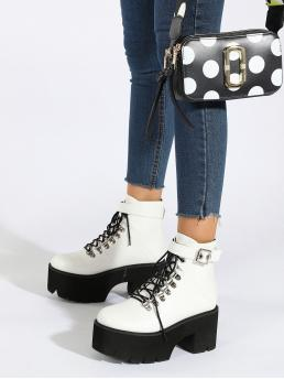 White Combat Boots Buckle High Heel Decor Lace-up Front Combat Boots Affordable