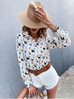 Ladies Long Sleeve Shirt Button Front Polyester Cat Print Button up Blouse