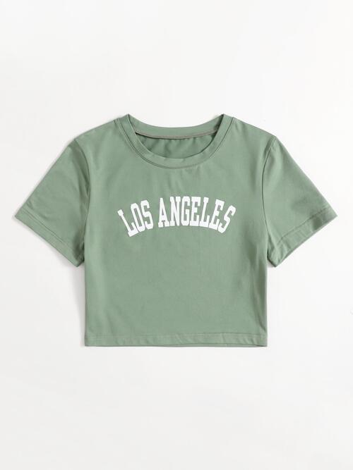 Short Sleeve Cotton Letter Mint Green Graphic Tee Clearance