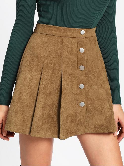 Camel Natural Waist Button Flared Single Breasted Suede Shopping