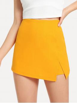 Trending now Yellow Natural Waist Split Culottes Front Solid Shorts