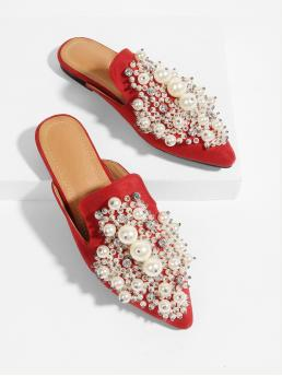 Comfort Slippers Point Toe Red Faux Pearl Decorated Pointed Toe Flats