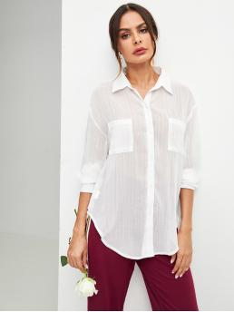 Basics Plain Shirt Regular Fit Collar Long Sleeve Placket White Longline Length Pocket Patched Curved Hem Buttoned Shirt