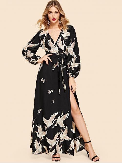 Boho Animal Loose V neck Long Sleeve Natural Multicolor Maxi Length Crane Print Split Surplice Belted Maxi Dress