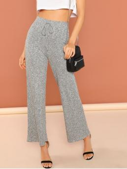 Casual Plain Wide Leg Loose Elastic Waist High Waist Grey Long Length Knot Heathered Knit Pants