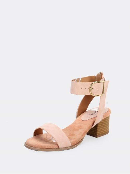 Corduroy Pink Mules Studded Side Buckle Ankle Low Heel Sandals Pretty