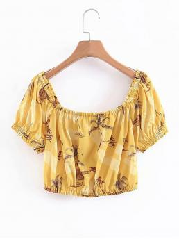 Boho Tropical Top Regular Fit Square Neck Short Sleeve Pullovers Yellow Crop Length Tropical Print Blouse