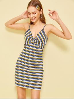 Casual Cami Striped Spaghetti Strap Sleeveless High Waist Multicolor Short Length Twist Front Stripe Bodycon Slip Dress