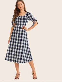 Preppy A Line Gingham Regular Fit Square Neck Short Sleeve Puff Sleeve High Waist Navy Long Length Knot Cuff Single Breasted Gingham Dress