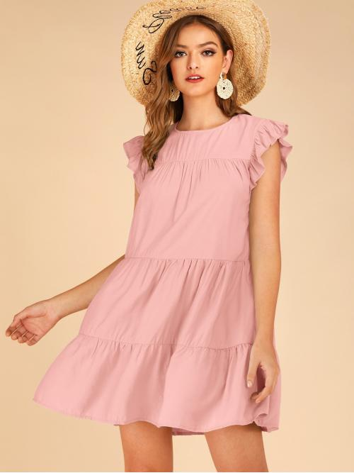 Cute Smock Plain Loose Round Neck Cap Sleeve Natural Pink Short Length Solid Ruffle Cuff Smock Dress