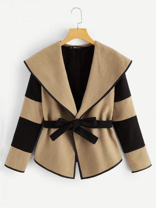 Casual Colorblock Regular Fit Waterfall Long Sleeve Regular Sleeve Multicolor Regular Length Plus Waterfall Collar Two Tone Self Belted Coat with Belt