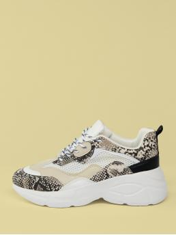 Comfort Round Toe Snakeskin Print Multicolor Mid Heel Mesh And Snake Detail Lace Front Chunky Sneakers