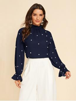 Elegant Plain Top Regular Fit Stand Collar Long Sleeve Flounce Sleeve Pullovers Navy Regular Length Pearl Beaded Frill Trim Top