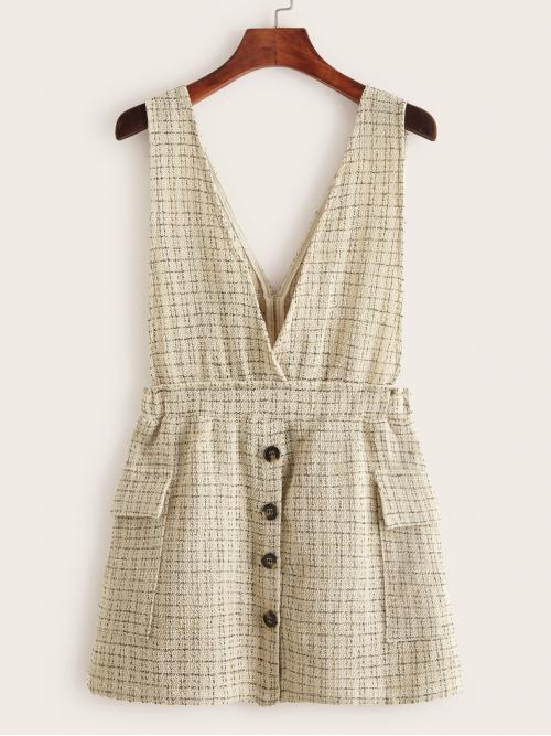 Casual Pinafore Plaid Straight Regular Fit Deep V Neck Sleeveless High Waist Khaki Short Length Double Pocket Button Front Tweed Suspender Dress
