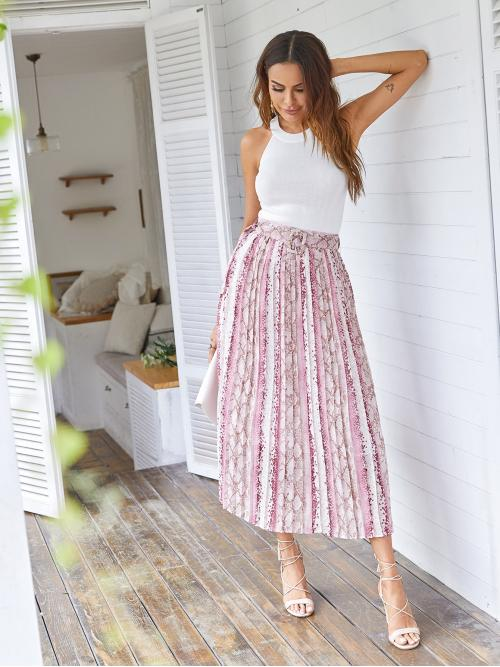 Casual Pleated Snakeskin Print Mid Waist Multicolor Long/Full Length Contrast Snakeskin Print Pleated Skirt with Belt with Lining