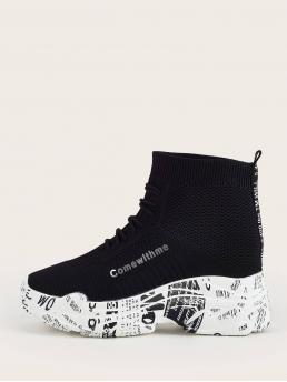 Shopping Black Chunky Trainers Lace up High Heel Graphic High Top Sock Sneakers