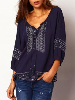 Boho Geometric Top Regular Fit Scoop Neck Three Quarter Length Sleeve Navy Lace Up Embroidered Loose Blouse