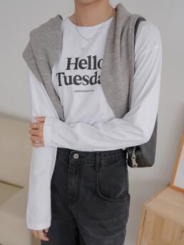 Long Sleeve Cotton Letter White Dazy Graphic Tee Without Cape Fashion