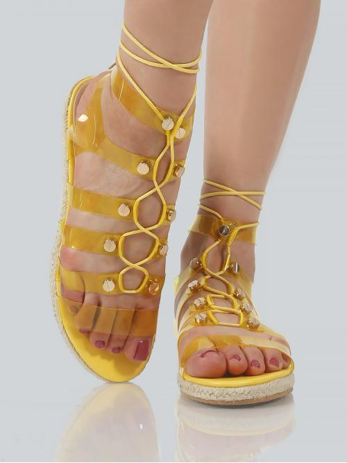 Corduroy Yellow Mules Bow Transparent Gladiator Sandals on Sale