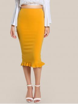 Elegant Pencil Plain High Waist Yellow Long/Full Length Split Ruffle Hem Pencil Skirt