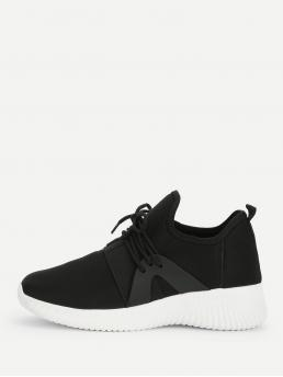 Comfort Black Lace Up Low Top Sneakers
