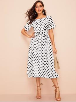 Boho A Line Polka Dot Regular Fit Square Neck Short Sleeve Natural Black and White Long Length Polka Dot Raglan Sleeve Self Belted Dress with Belt