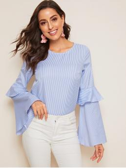 Casual Striped Top Regular Fit Round Neck Long Sleeve Pullovers Blue Regular Length Striped Flounce Sleeve Blouse