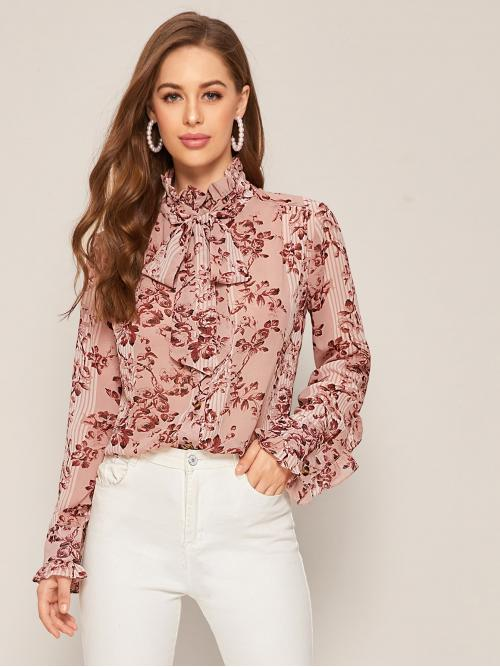 Elegant Floral Shirt Regular Fit Stand Collar Long Sleeve Flounce Sleeve Placket Pink Regular Length Tie Neck Floral Print Frill Blouse