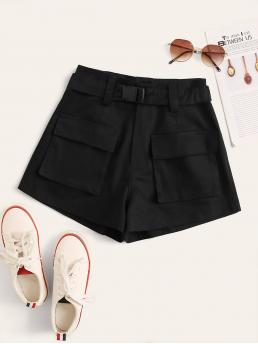 Casual Plain Wide Leg Regular Zipper Fly High Waist Black Solid Buckle Belt Flap Pocket Cargo Shorts with Belt
