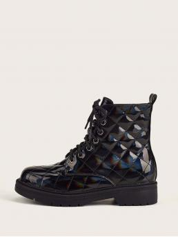 Black Combat Boots Low Heel Chunky Patent Combat Boots Fashion