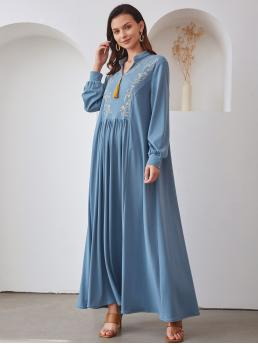 Affordable Dusty Blue Plants Fringe Notched Neck Embroidery Detail Dress