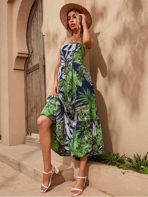 Shopping Multicolor all over Print Criss Cross Straps Tropical Print Ruffle Hem Dress