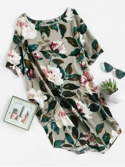 Casual Tunic Floral Straight Loose Round Neck Short Sleeve Natural Multicolor Short Length Floral Curved Hem Dress With Pockets