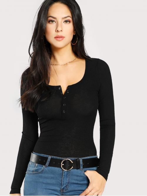 Casual Plain Slim Fit Scoop Neck Long Sleeve Black Scoop Neck Rib Henley Shirt