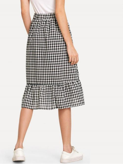 Women's Black and White Natural Waist Button Asymmetrical Single Breasted Ruffle Hem Checked