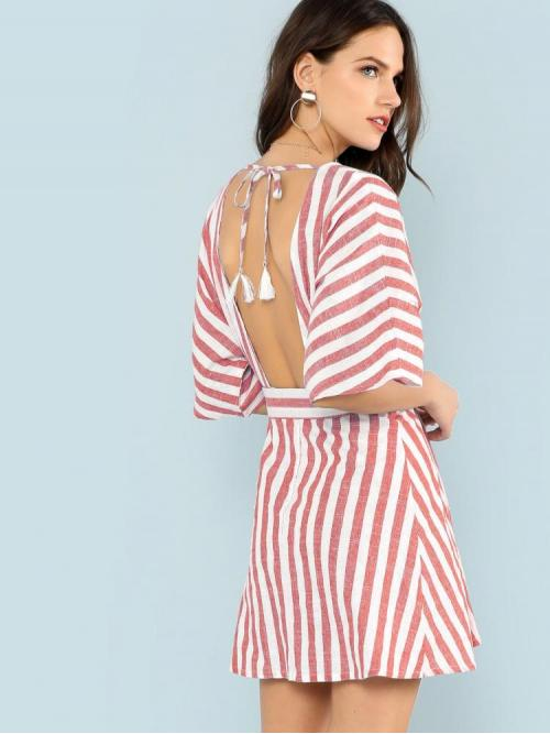 Pretty Red Striped Fringe Deep V Neck Plunging Button Front Dress