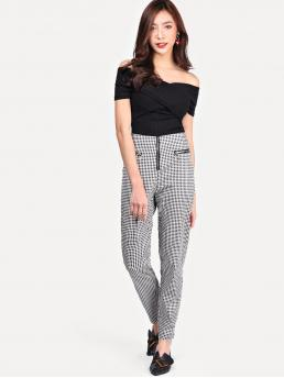 Casual Gingham Tapered/Carrot Skinny Zipper Fly High Waist Black and White Cropped Length Zipper Front Plaid Pants