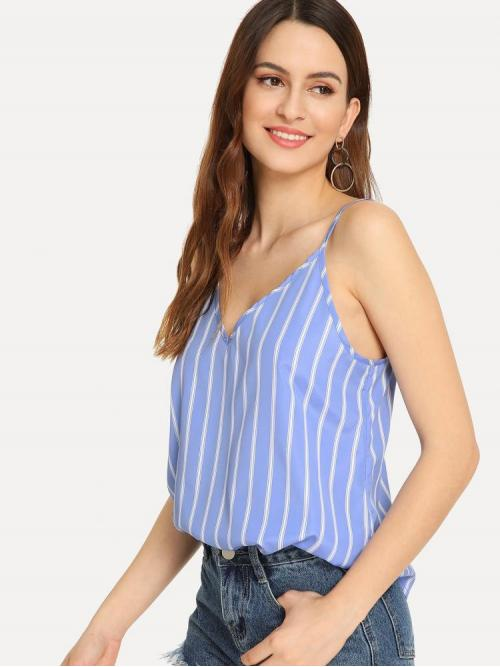 Long Sleeve Cami Knot Polyester Double V-neck Top Cheap