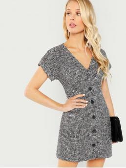 Elegant Sheath V neck Short Sleeve Natural Black and White Short Length Button Up Front Tweed Dress with Lining
