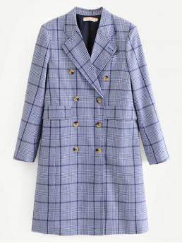 Plaid Pocket and Button Long Sleeve Blue Long Length Glen Plaid Double Breasted Coat